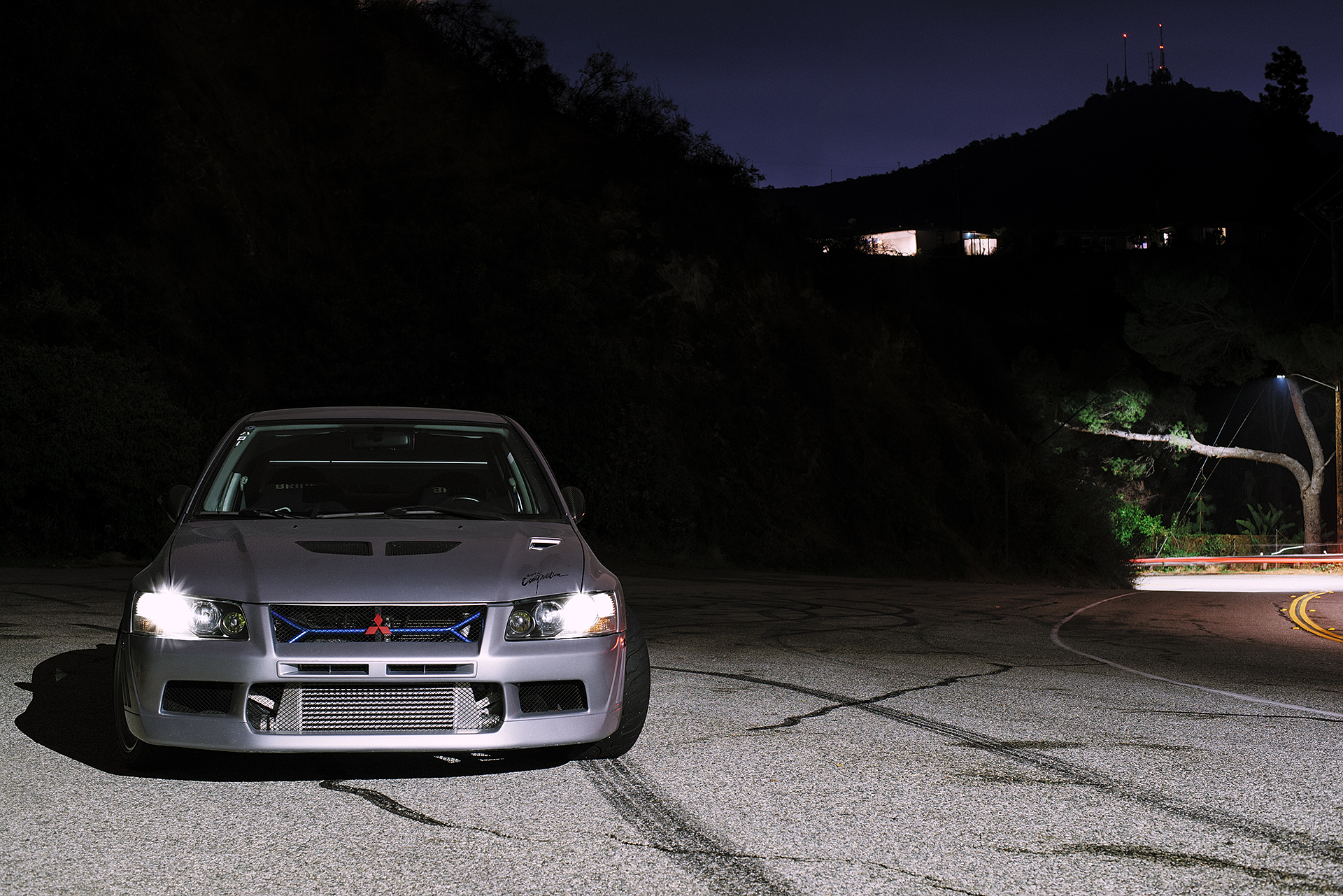 My Evo 7 parked off of Chevy Chase Drive at night