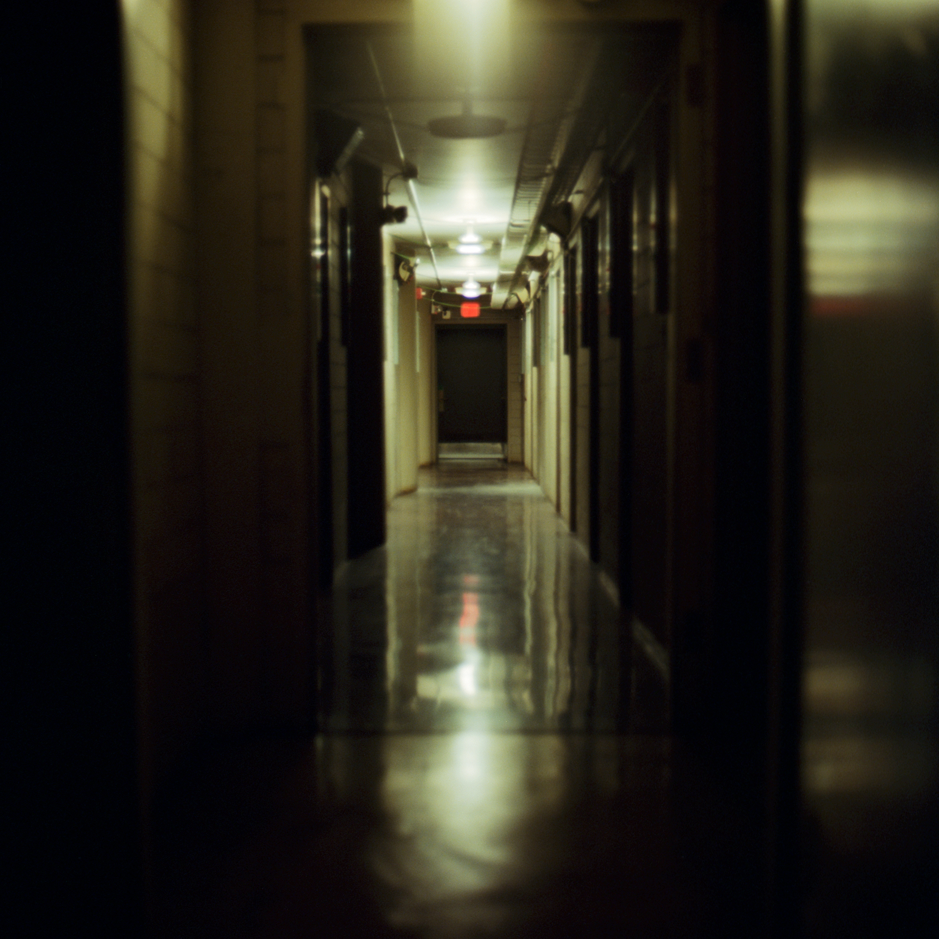 Hallway full of darkrooms at the Kodak headquarters