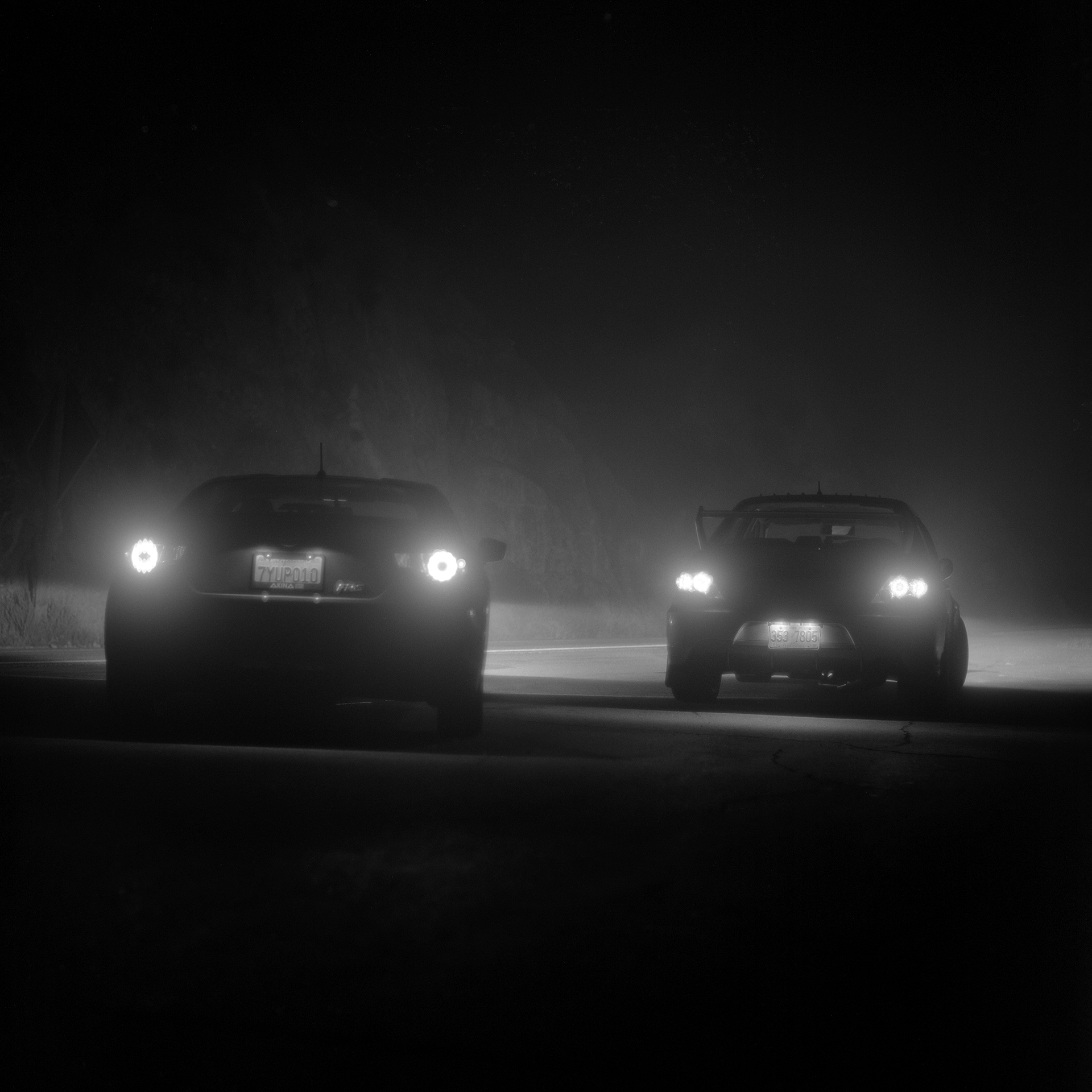 Secret Nightcore meet stopped in a foggy spot on Angeles Crest Highway