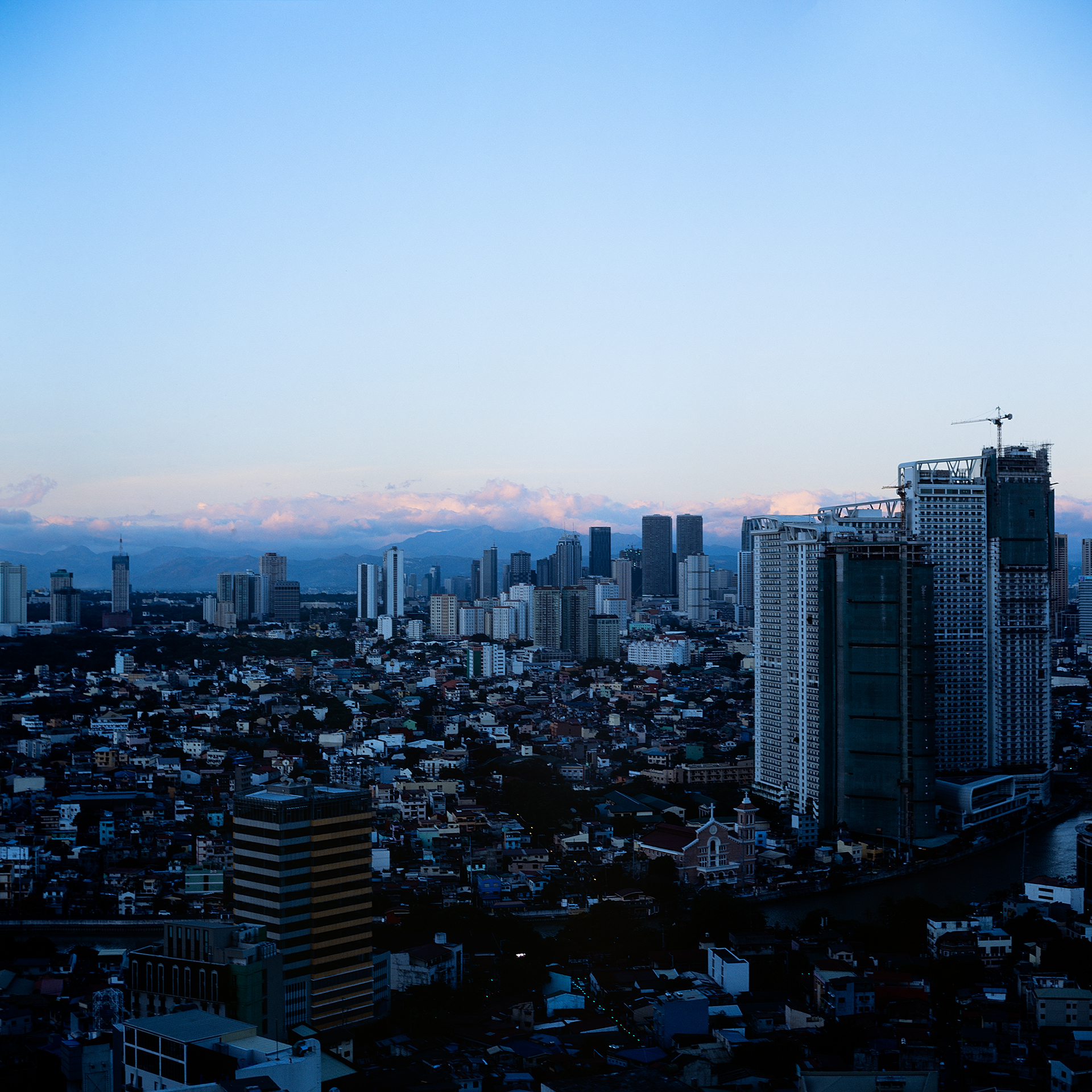 Almost sunset looking out over Metro Manila in the Philippines.