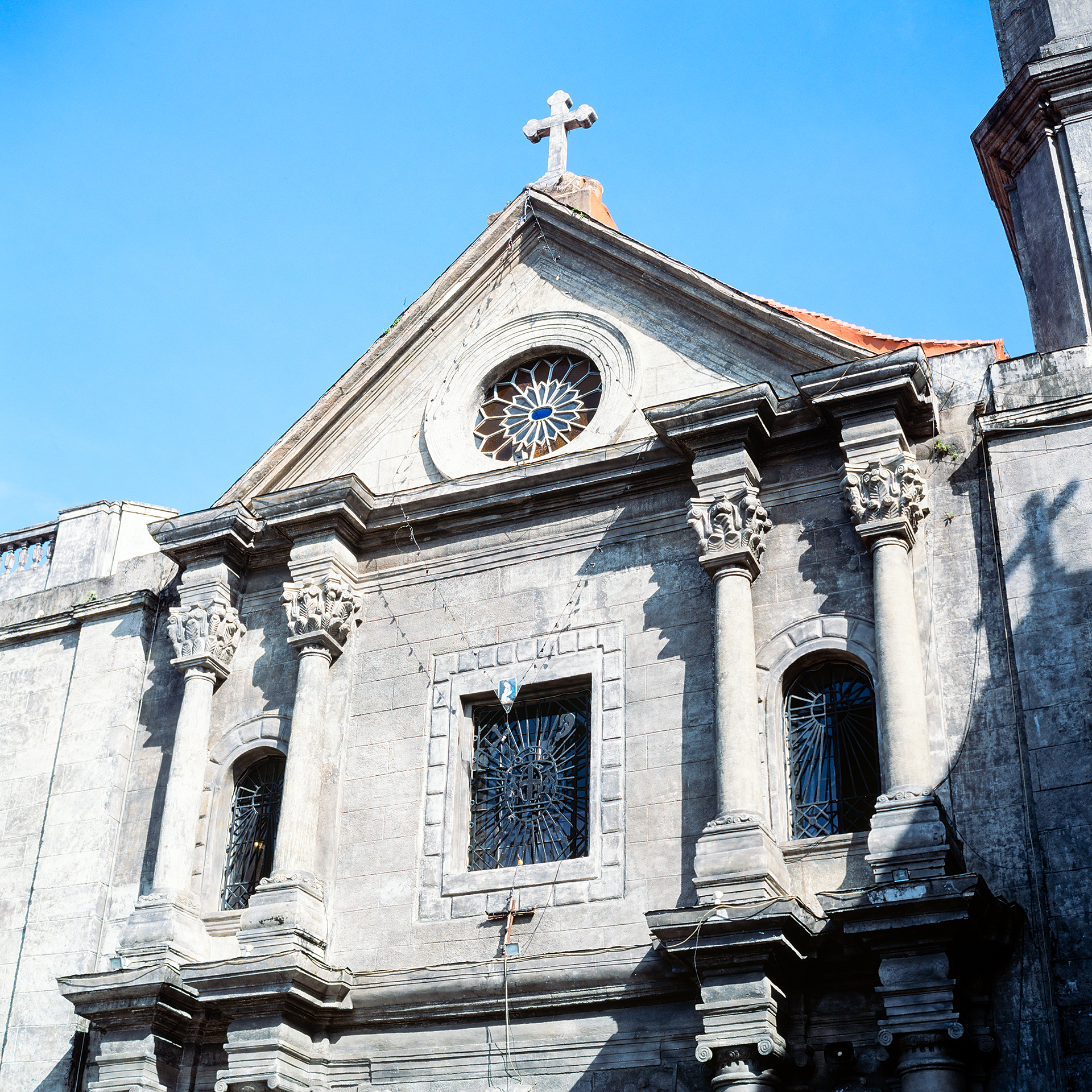 Looking up at San Agustin Church