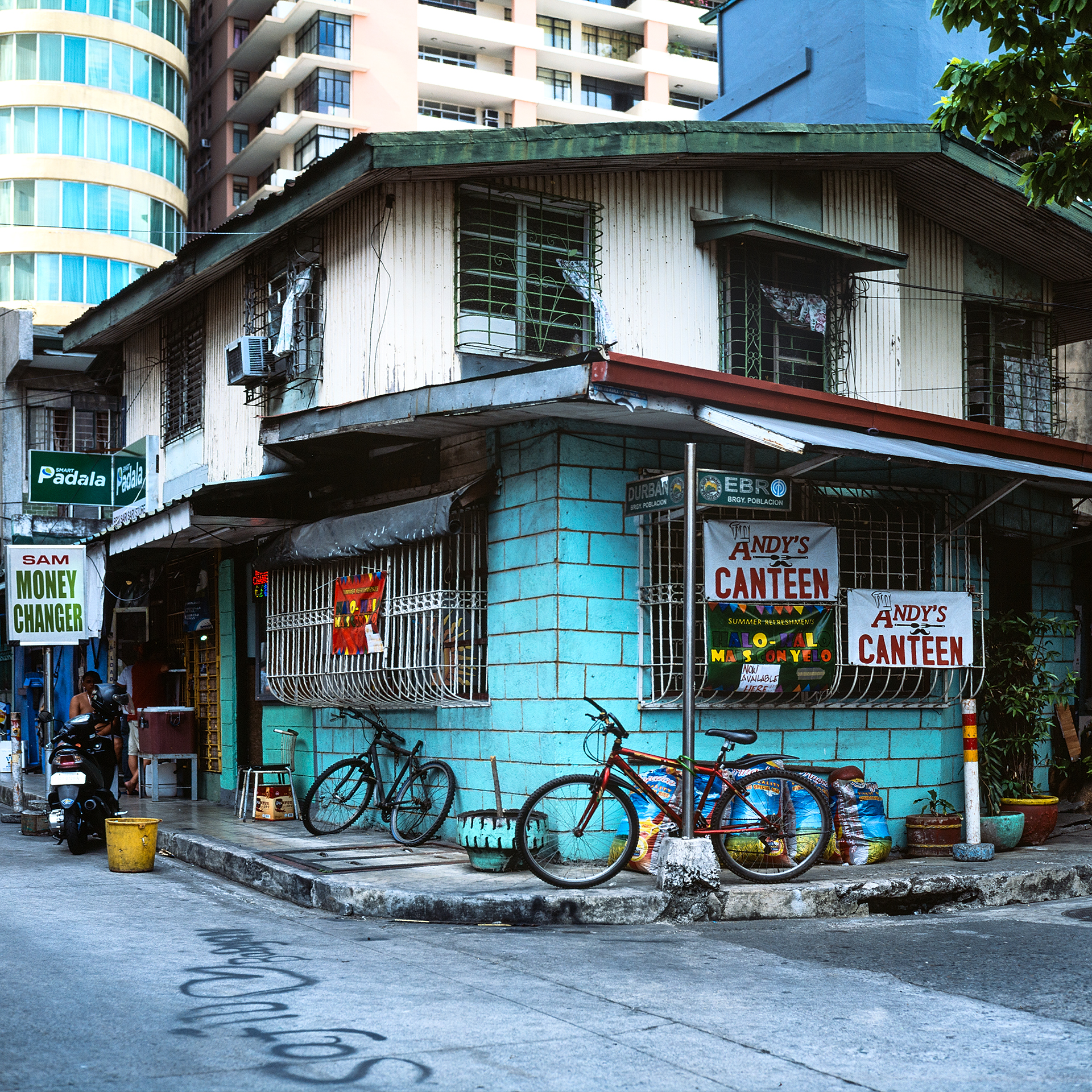 Brightly colored building of Andy's Canteen in Makati Manila in the Philippines.
