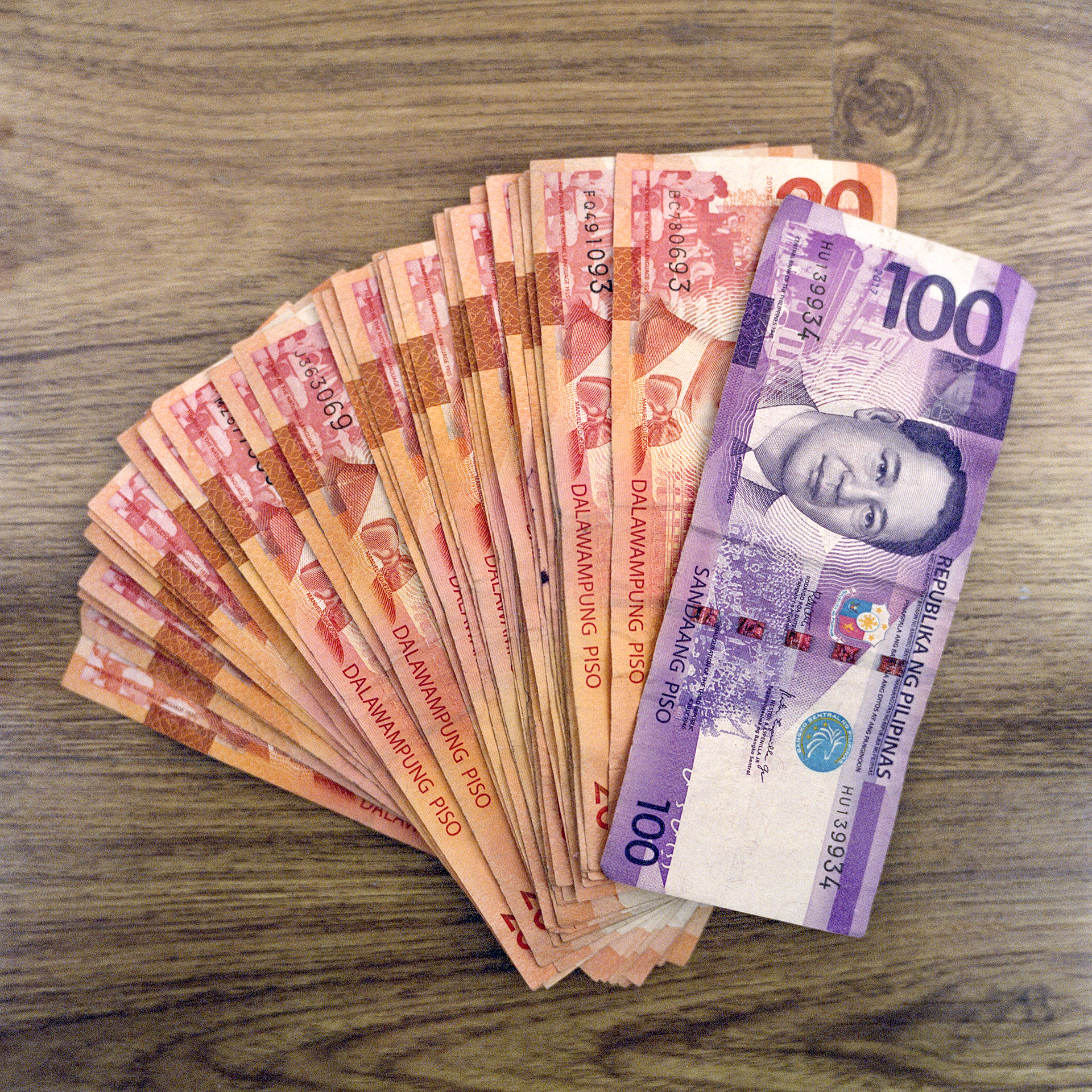 A pile of Filipino Pesos