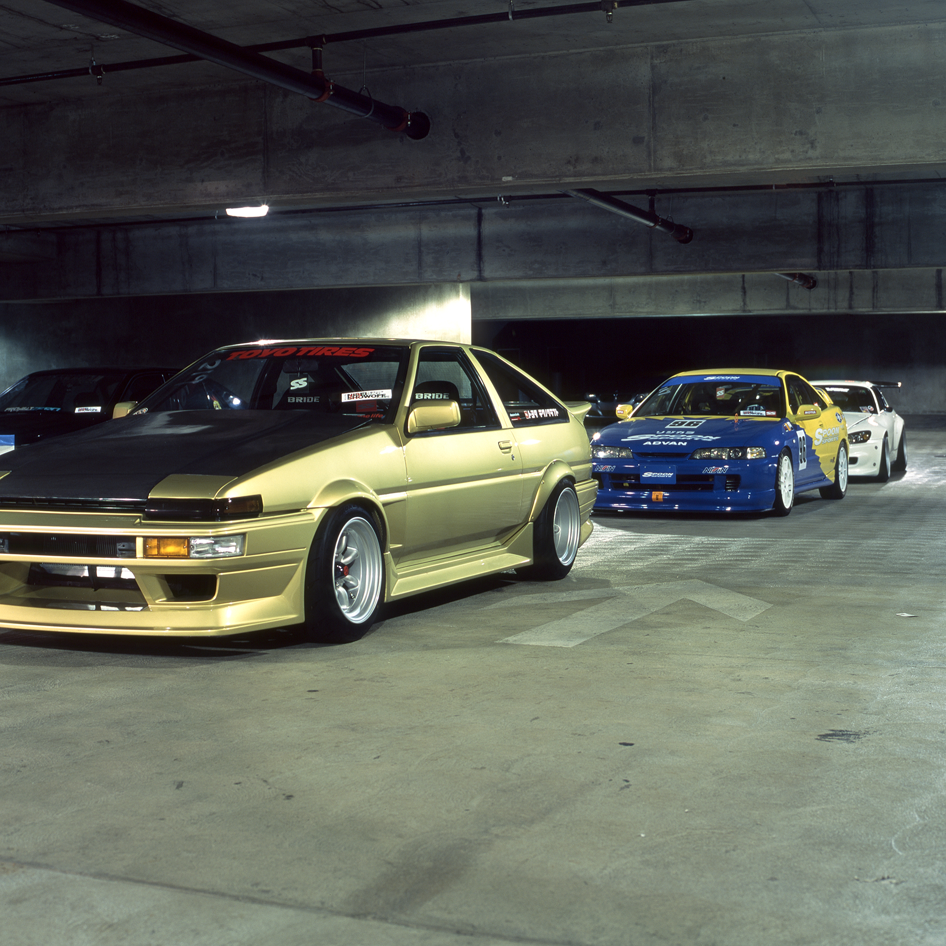 Toyota AE86, Spoon Acura Integra, and Honda S2000 lined up