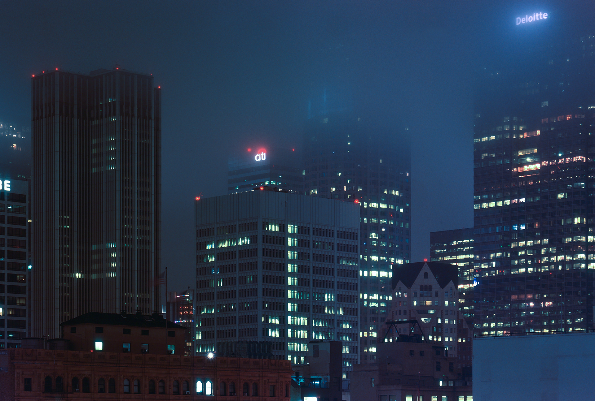 Downtown Los Angeles shrowded in fog at night